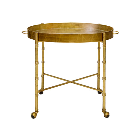 Worlds Away - Gold Leaf Bamboo Bar Cart - BRIGHTON G