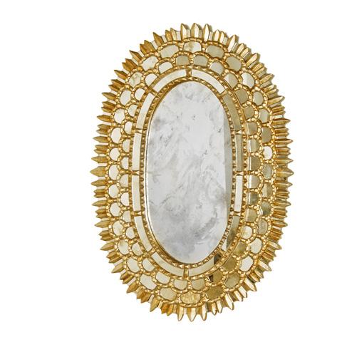 Worlds Away - Gold Leaf Oval Mirror - CARMELITA G