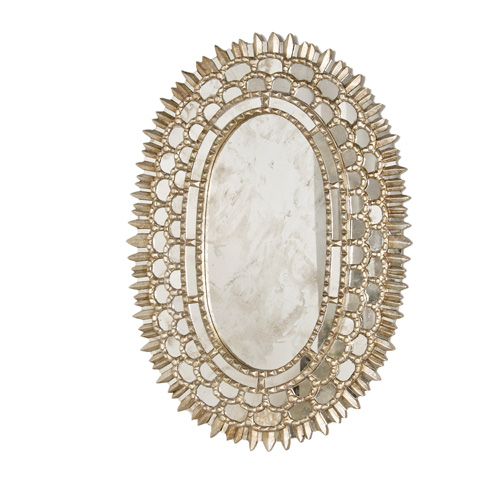 Worlds Away - Silver Leaf Oval Mirror - CARMELITA S