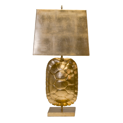 Worlds Away - Gold Leafed Tortoise Shell Lamp - CECILE G