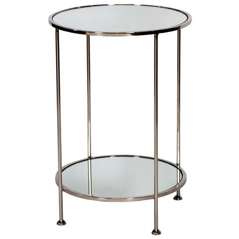 Worlds Away - Two Tier Nickel Plated Side Table - CHICO N