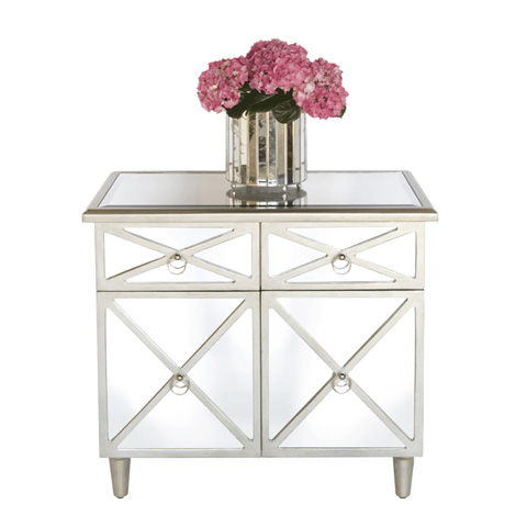 Worlds Away - Mirrored Crosshatch Two Drawer Chest - CLAUDE