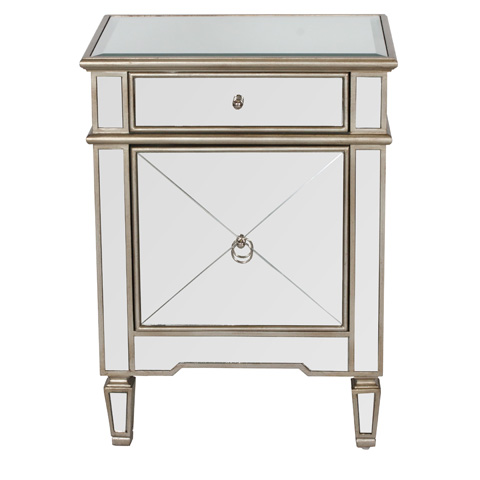 Image of Silver Edge Mirrored Nightstand