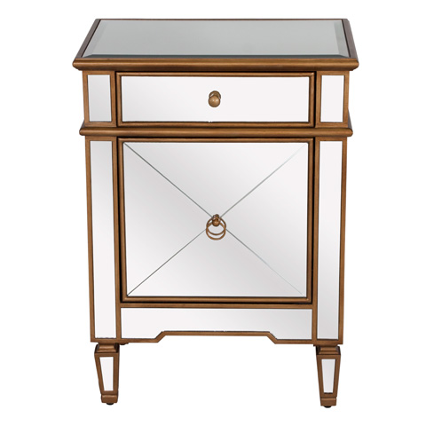 Worlds Away - Gold Edge Mirrored Nightstand - CLAUDETTE G