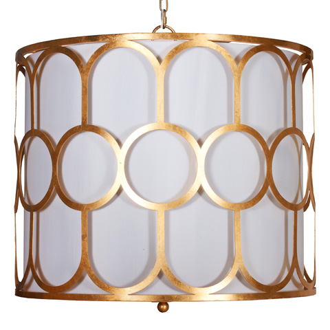 Worlds Away - Gold Leaf Pendant with White Linen Shade - COLETTE G