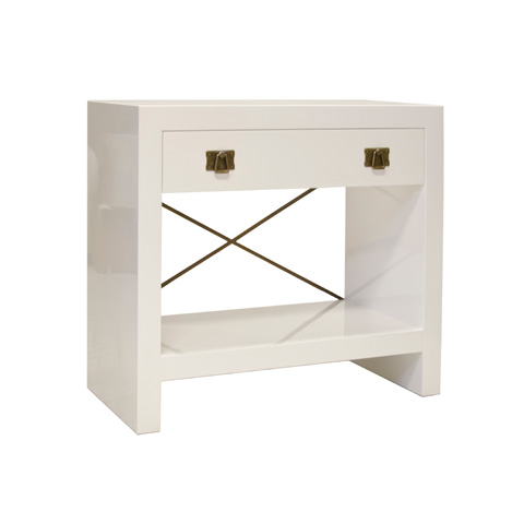 Image of White Lacquer One Drawer Nightstand