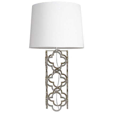 Worlds Away - Silver Leaf Quatrefoil Table Lamp - DARCY S