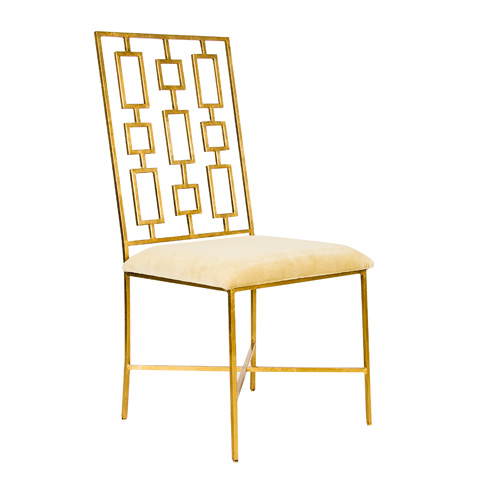 Worlds Away - Gold Leaf Dining Chair with Beige Seat - DAVID GBEIGE