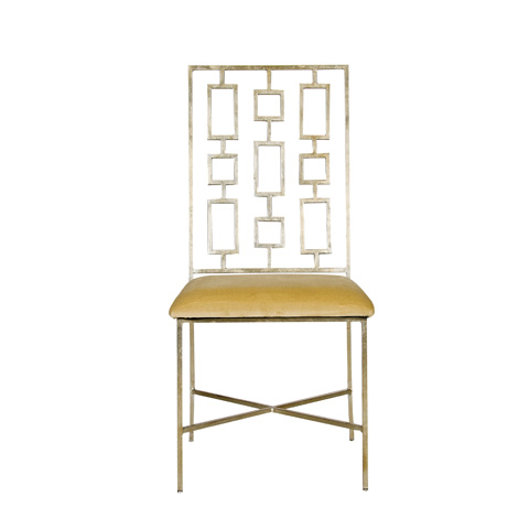 Worlds Away - Silver Leaf Dining Chair with Beige Seat - DAVID SBEIGE