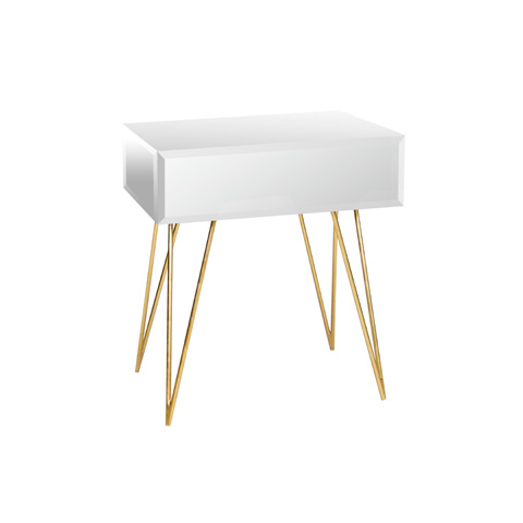 Worlds Away - Mirrored One Drawer Side Table - DEBRA MIRG