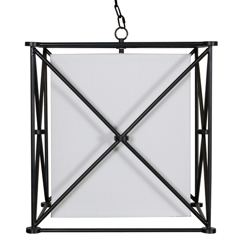 Worlds Away - Black Iron Square Pendant with Shade - ELLIS BL