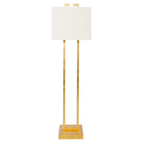 Worlds Away - Rectangular Shaped Gold Leaf Floor Lamp - ETHAN G