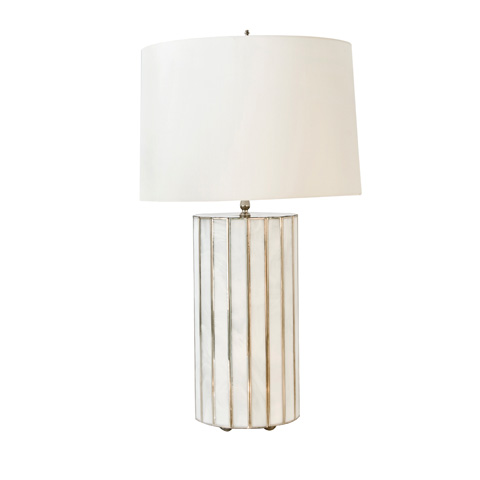 Worlds Away - Large Faceted White Glass Lamp - GORDO WH