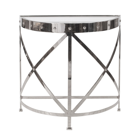 Worlds Away - Half Round Studded Nickel Plated Console - GROVE N