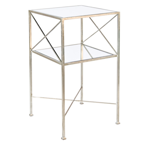 Worlds Away - Champagne Silver Leaf Two Tier Table - HENRI S