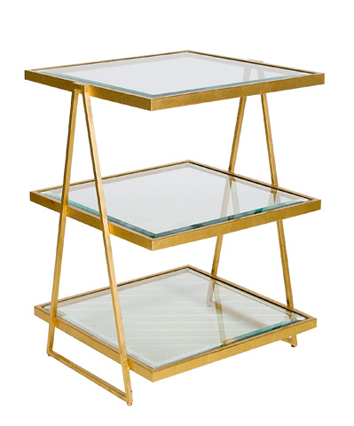 Worlds Away - Three Tier Gold Leaf Table - JARMON G
