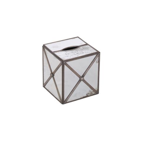 Worlds Away - Antique Mirror Kleenex Box with Crosshatch - KBAMC
