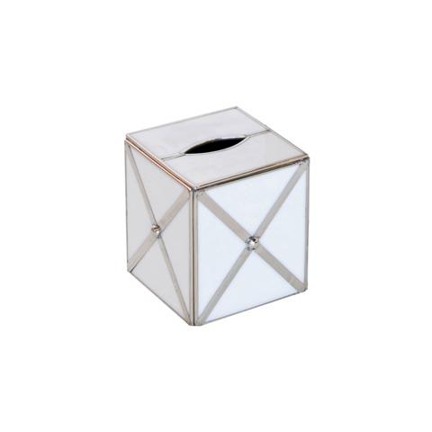 Worlds Away - White Glass Kleenex Box - KBCLARO