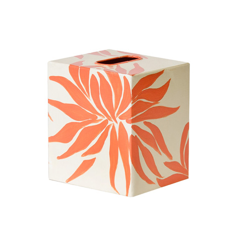 Worlds Away - Orange and Cream Floral Kleenex Box - KBDAHLIAOR