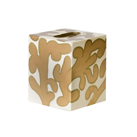 Worlds Away - Cream and Gold Kleenex Box - KBJANEG