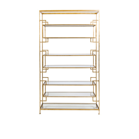 Worlds Away - Eight Shelf Gold Leaf Etagere - LAMAR G