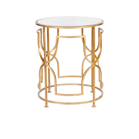 Worlds Away - Gold Leaf Side Table - LENORA G