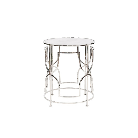 Worlds Away - Nickel Plated Side Table - LENORA N