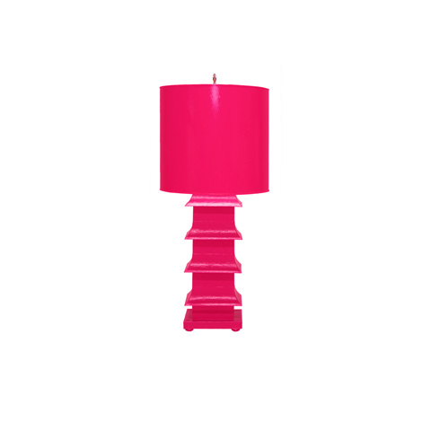 Worlds Away - Hot Pink Pagoda Lamp - LMPHL-PI