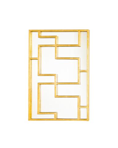 Worlds Away - Gold Leaf Oriental Mirror Panel - LOTUS G