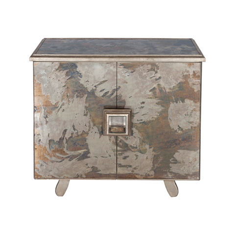 Worlds Away - Champagne Silver Leaf Two Door Chest - LUCY S