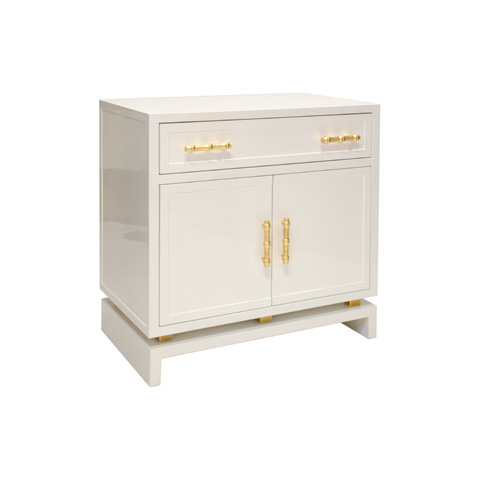 Worlds Away - White Lacquer Nightstand - MARCUS WH