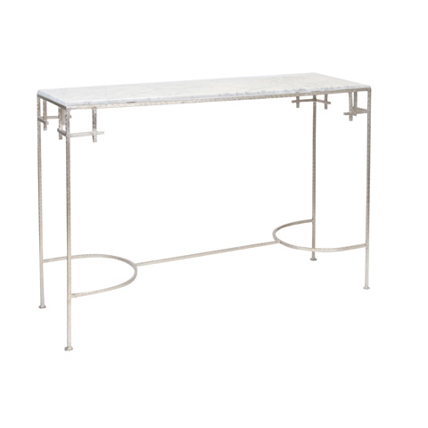 Worlds Away - Hammered Silver Leaf Console - MARCY SW