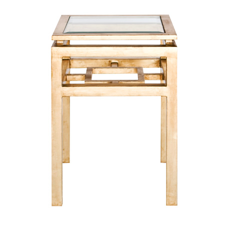 Worlds Away - Two Tier Gold Leaf Square Table - MAYNARD G