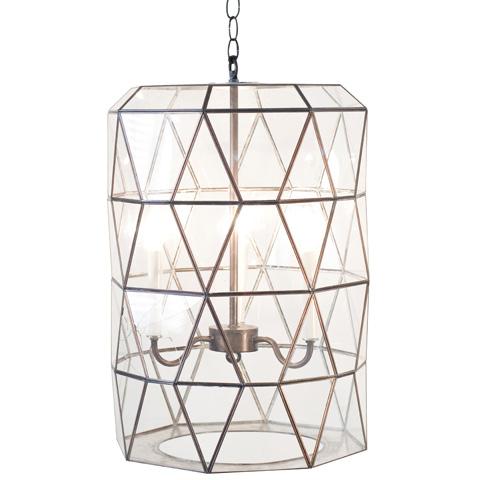Worlds Away - Large Faceted Glass Lantern - MODERNA