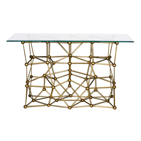 Worlds Away - Gold Leaf Iron Console Table - MOLECULE CONG54