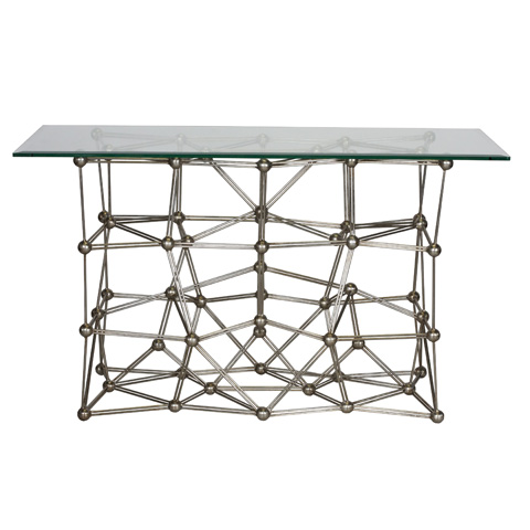 Worlds Away - Silver Leaf Iron Console Table - MOLECULE CONS54