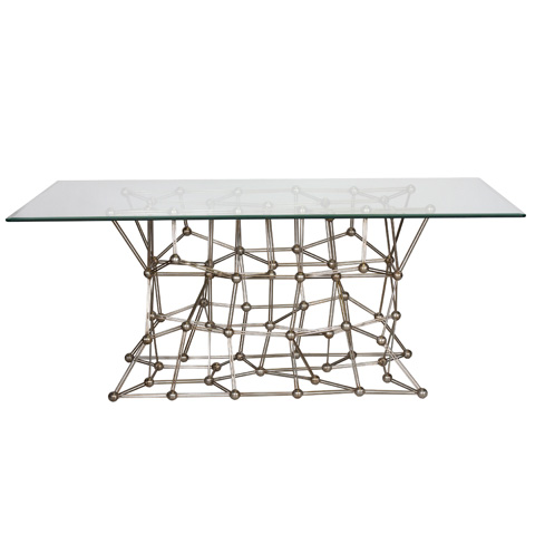 Worlds Away - Silver Leaf Iron Dining Table - MOLECULE DINS72
