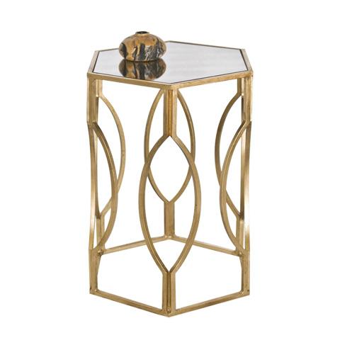 Worlds Away - Hexagonal Gold Leaf Side Table - MORROCO G
