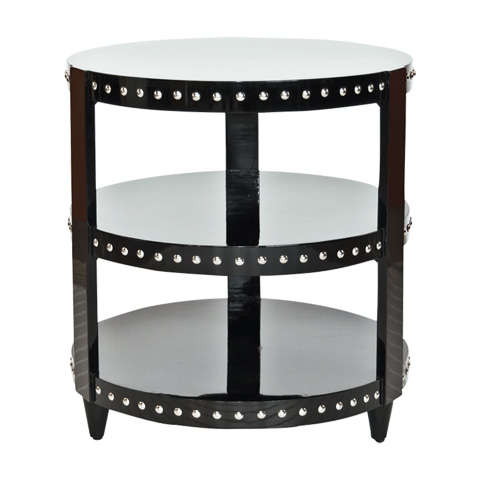 Worlds Away - Black Lacquer Side Table - NORA BL