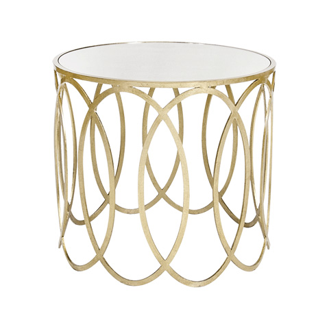 Worlds Away - Silver Leaf Ovals Side Table - OLIVIA S