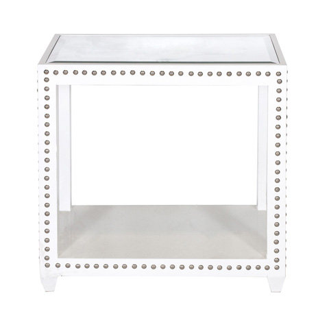 Worlds Away - White Lacquer Side Table - OLIVIA WH