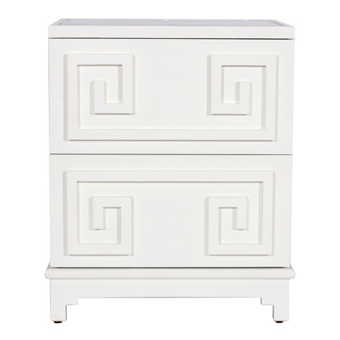 Worlds Away - White Lacquer Two Drawer Nightstand - PAGODA WH