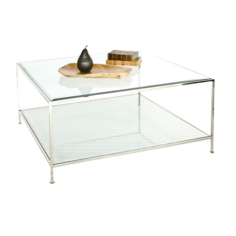 Worlds Away - Nickel Plated Square Coffee Table - QUADRO N