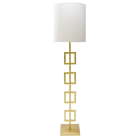 Worlds Away - Gold Leaf Squares Floor Lamp - QUINN G