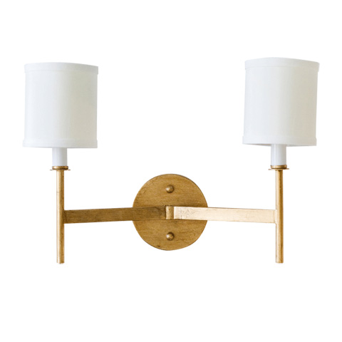 Worlds Away - Two Arm Gold Leaf Sconce - RANDOLPH G