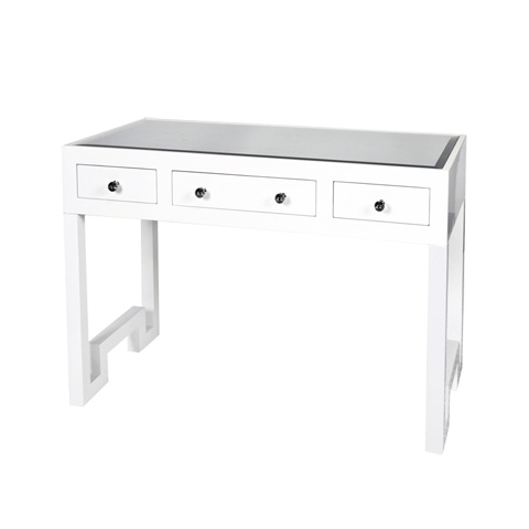 Worlds Away - White Lacquer Three Drawer Desk - REECE WH