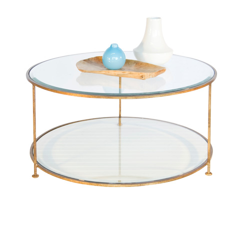 Worlds Away - Gold Leaf Round Coffee Table - ROLLO G