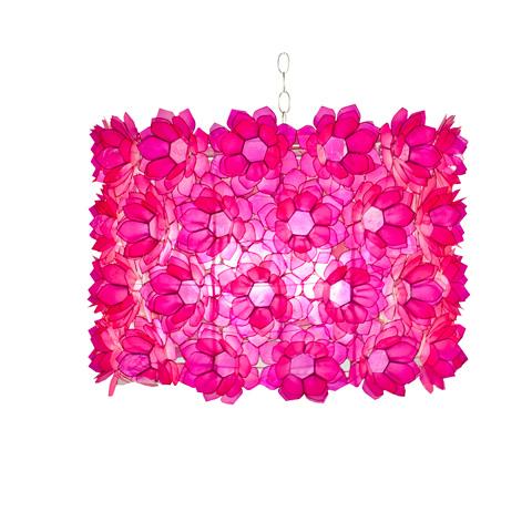 Worlds Away - Hot Pink Floral Capiz Pendant - ROSETTE P