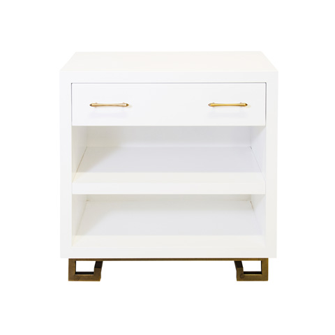 Worlds Away - White Lacquer Nightstand - ROTH WHG