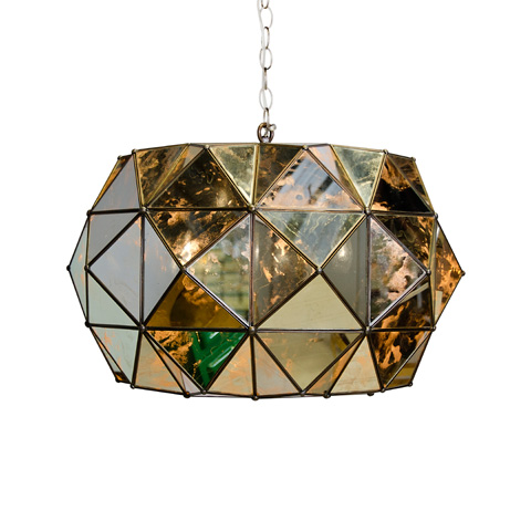 Worlds Away - Antique Mirror Faceted Pendant - ROZZ AM